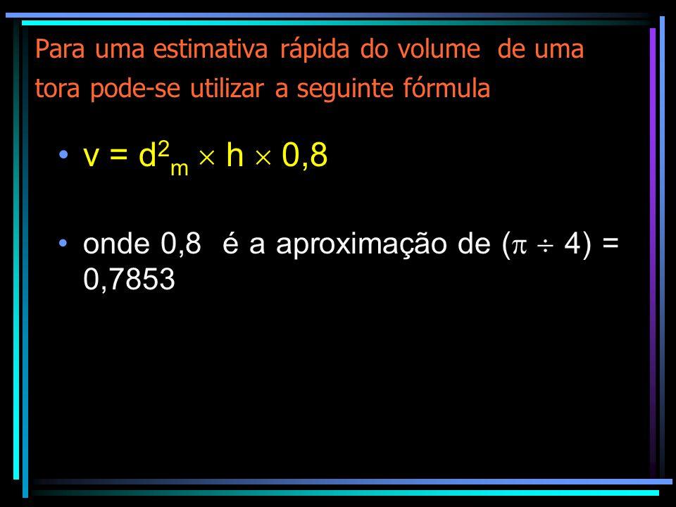 v = d2m  h  0,8 onde 0,8 é a aproximação de (  4) = 0,7853