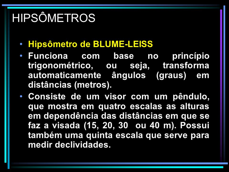 HIPSÔMETROS Hipsômetro de BLUME-LEISS