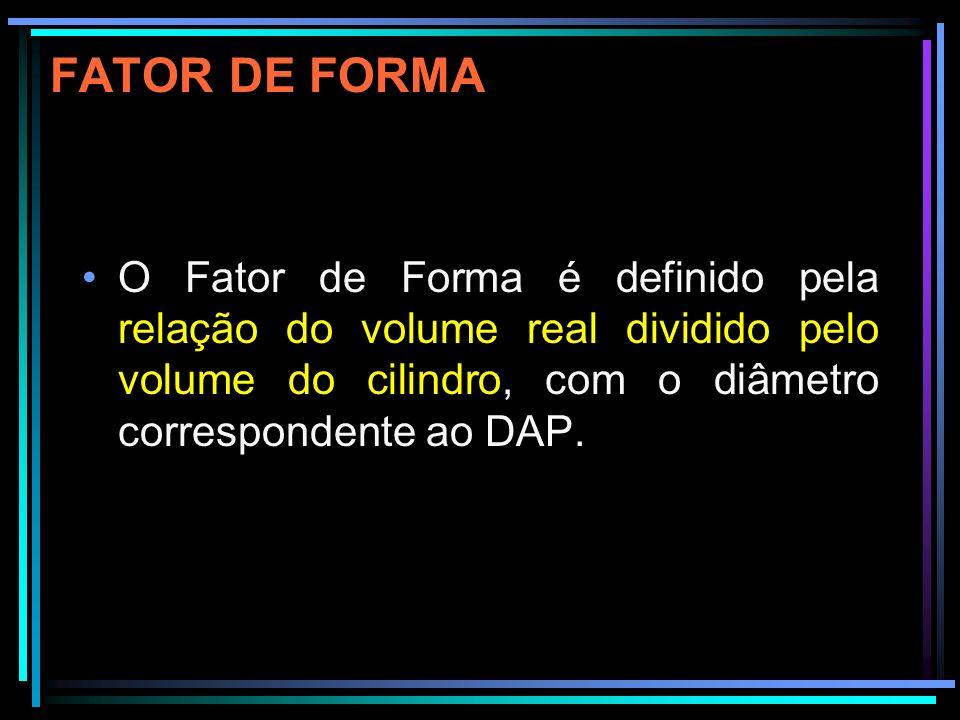 FATOR DE FORMA O Fator de Forma é definido pela relação do volume real dividido pelo volume do cilindro, com o diâmetro correspondente ao DAP.