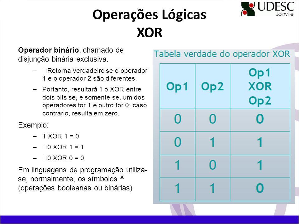 Operações Lógicas XOR Operador binário, chamado de disjunção binária exclusiva. Retorna verdadeiro se o operador 1 e o operador 2 são diferentes.