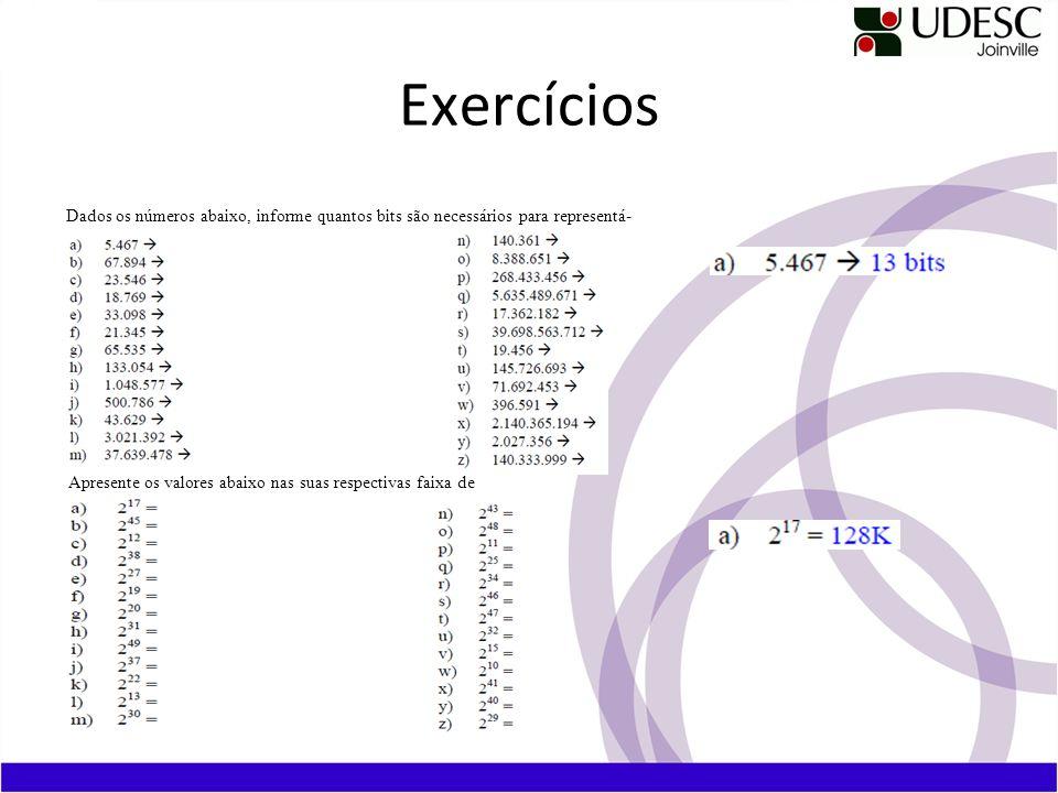 Exercícios Dados os números abaixo, informe quantos bits são necessários para representá-los.