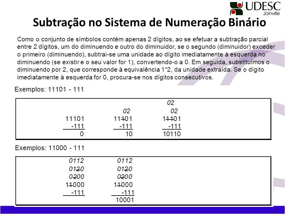 Subtração no Sistema de Numeração Binário