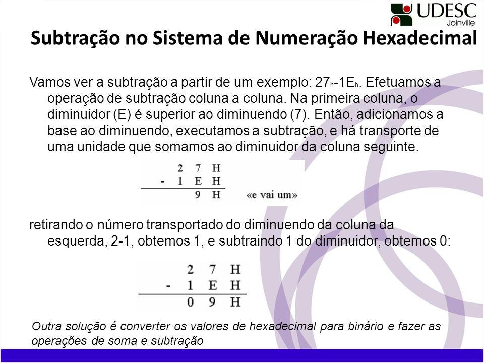 Subtração no Sistema de Numeração Hexadecimal