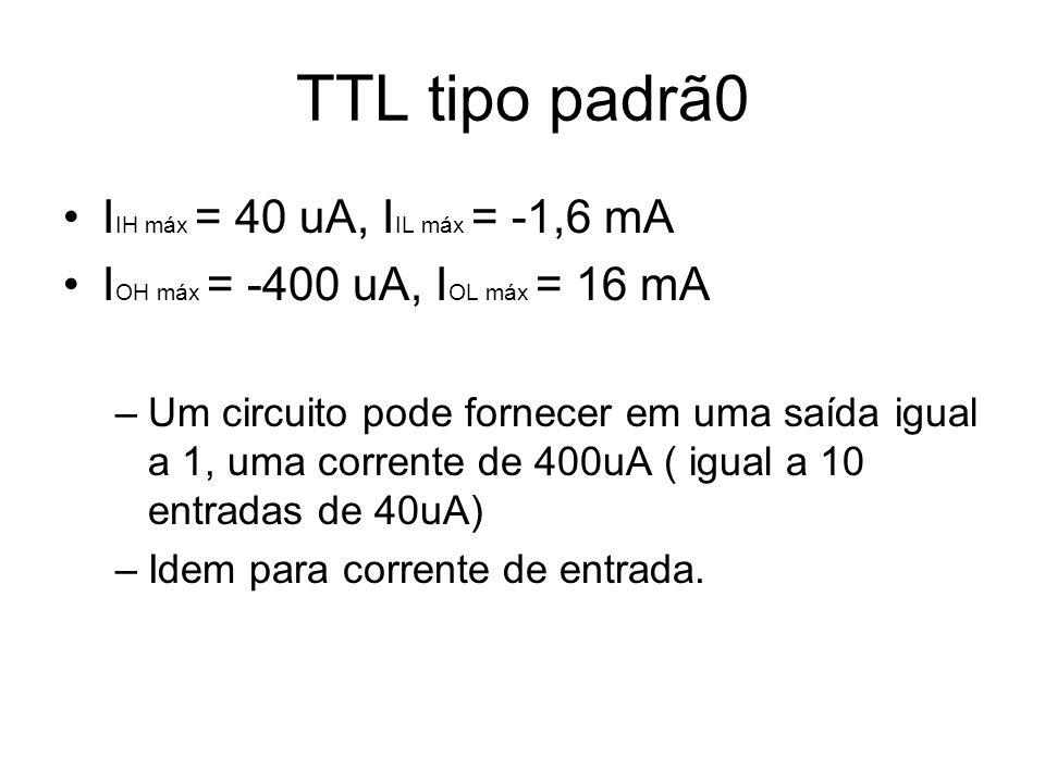 TTL tipo padrã0 IIH máx = 40 uA, IIL máx = -1,6 mA