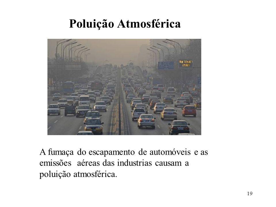 Poluição Atmosférica A fumaça do escapamento de automóveis e as emissões aéreas das industrias causam a poluição atmosférica.