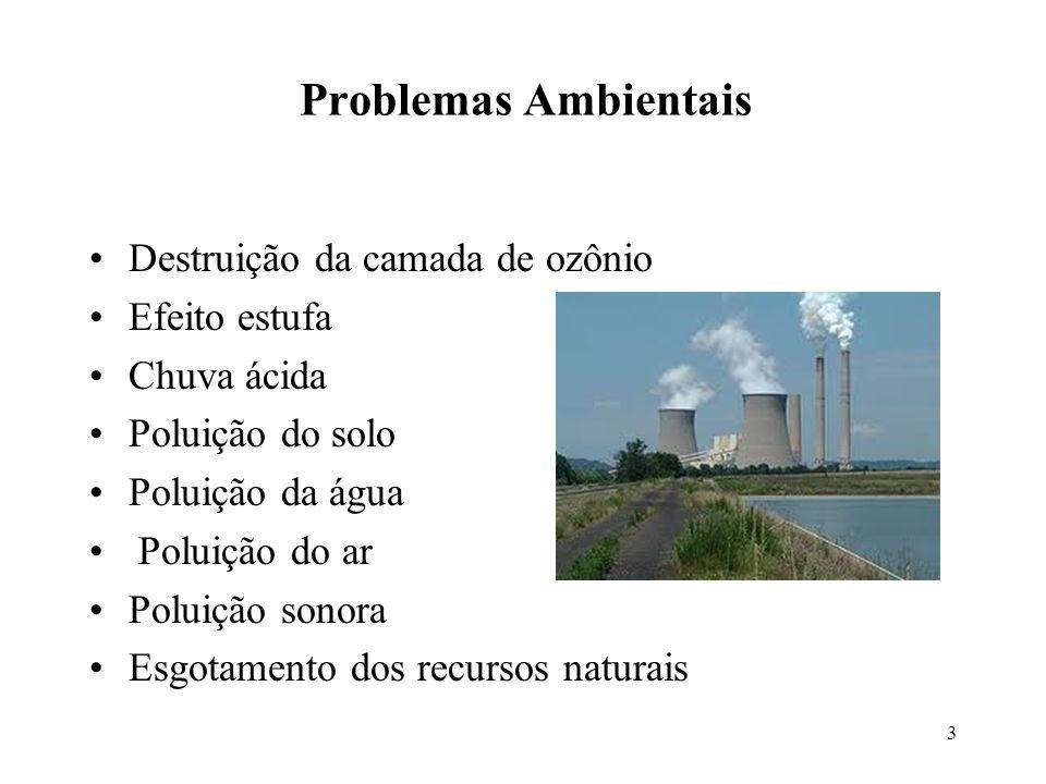 Problemas Ambientais Destruição da camada de ozônio Efeito estufa