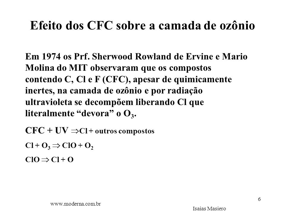 Efeito dos CFC sobre a camada de ozônio