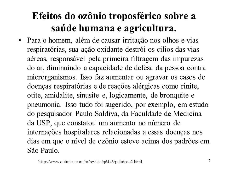 Efeitos do ozônio troposférico sobre a saúde humana e agricultura.