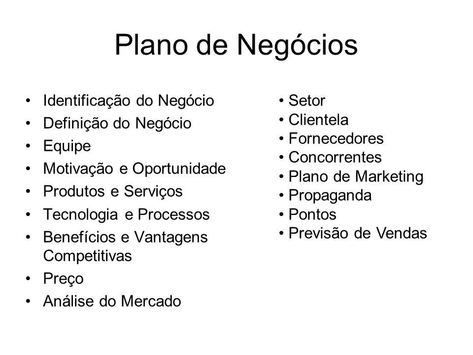 Plano de Negócios Identificação do Negócio Definição do Negócio Equipe