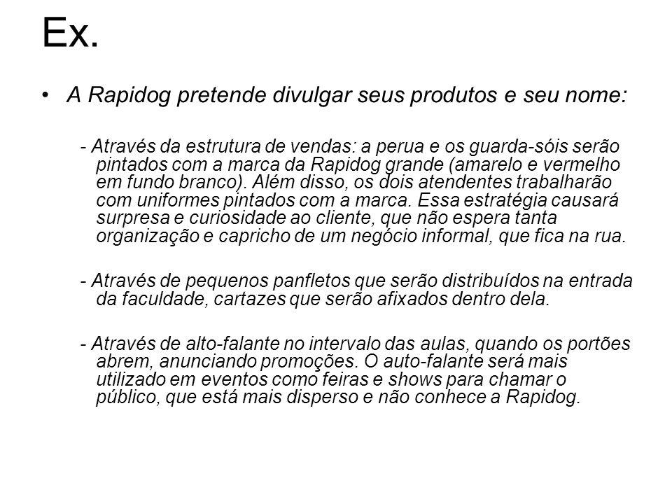 Ex. A Rapidog pretende divulgar seus produtos e seu nome: