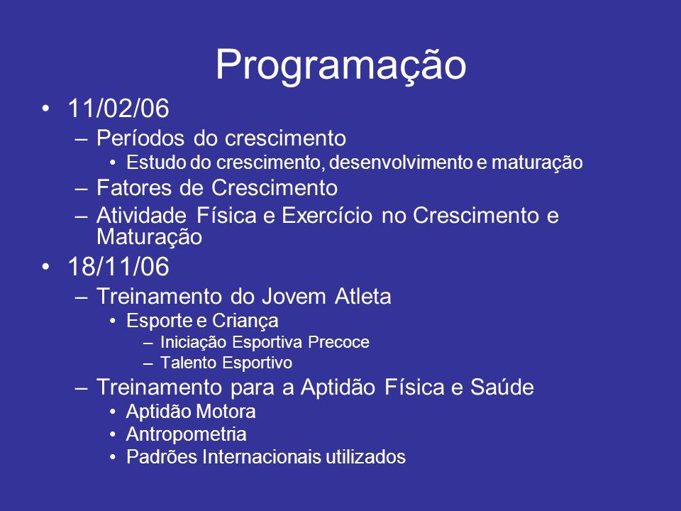 Programação 11/02/06 18/11/06 Períodos do crescimento