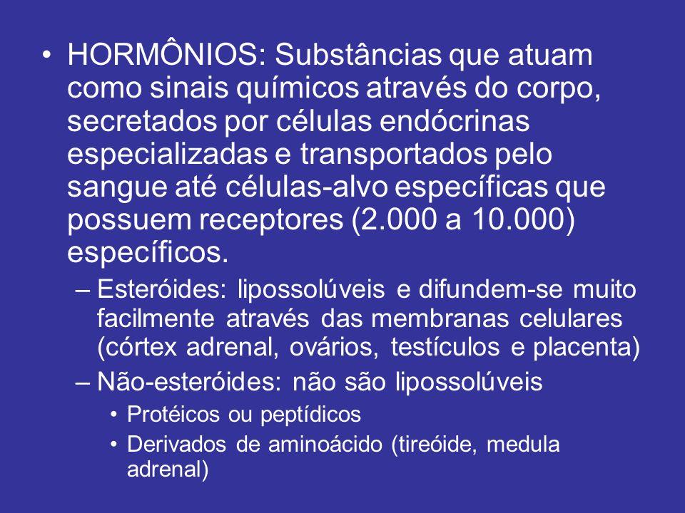 HORMÔNIOS: Substâncias que atuam como sinais químicos através do corpo, secretados por células endócrinas especializadas e transportados pelo sangue até células-alvo específicas que possuem receptores (2.000 a 10.000) específicos.