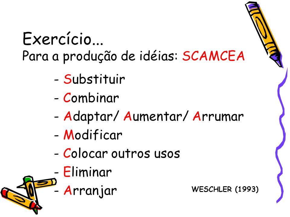 Exercício... Para a produção de idéias: SCAMCEA