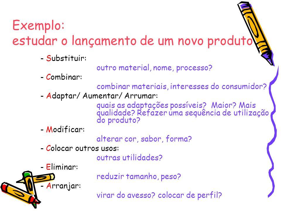 Exemplo: estudar o lançamento de um novo produto