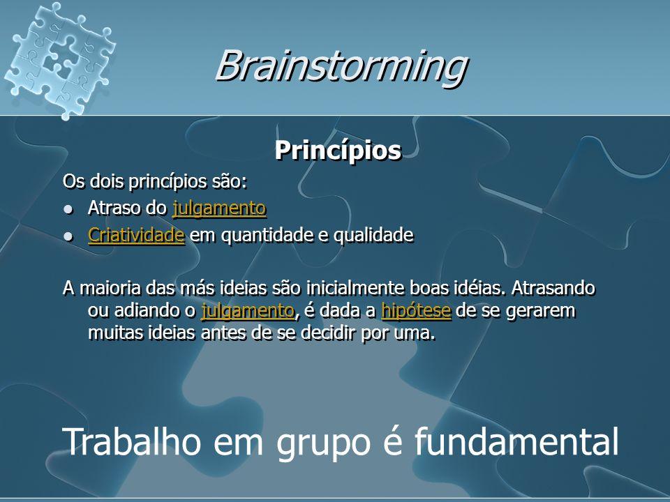 Brainstorming Trabalho em grupo é fundamental Princípios