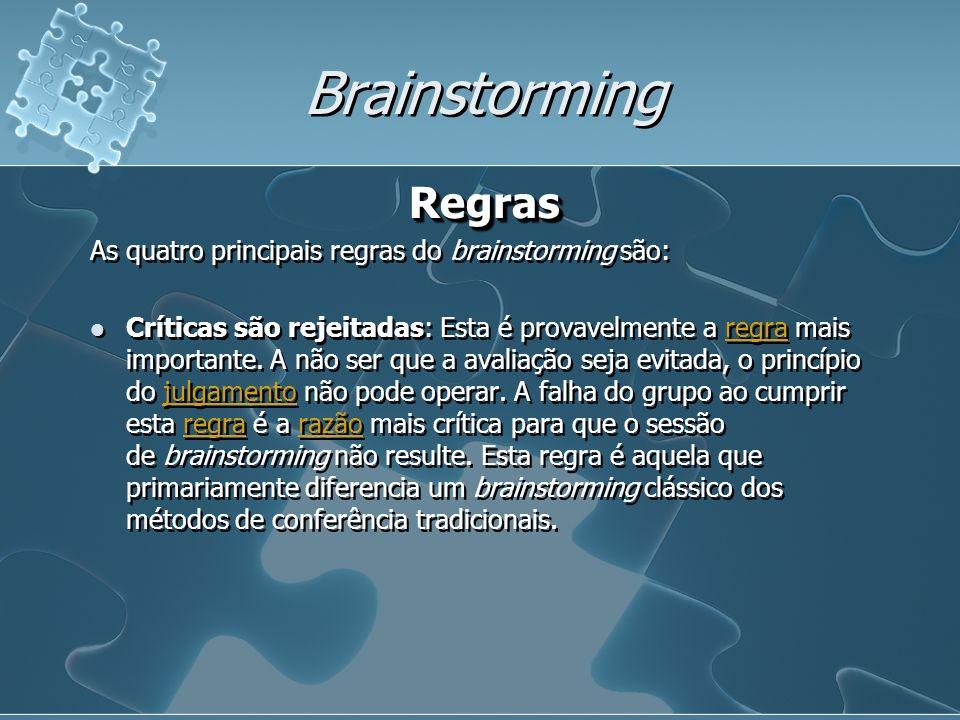 Brainstorming Regras As quatro principais regras do brainstorming são: