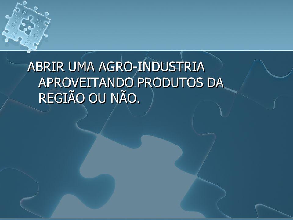 ABRIR UMA AGRO-INDUSTRIA APROVEITANDO PRODUTOS DA REGIÃO OU NÃO.