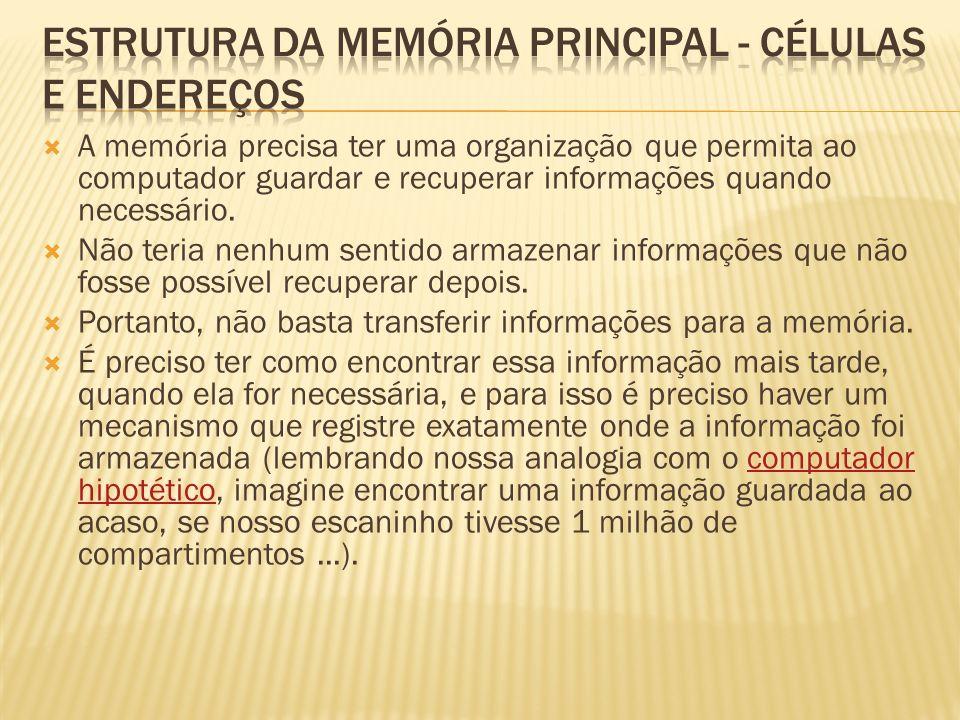 ESTRUTURA DA MEMÓRIA PRINCIPAL - CÉLULAS E ENDEREÇOS