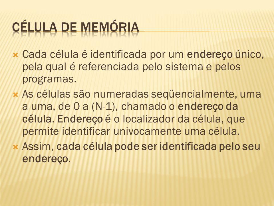 Célula de memória Cada célula é identificada por um endereço único, pela qual é referenciada pelo sistema e pelos programas.