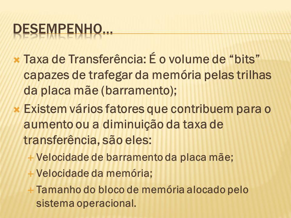 Desempenho... Taxa de Transferência: É o volume de bits capazes de trafegar da memória pelas trilhas da placa mãe (barramento);