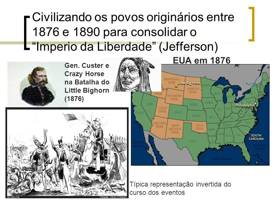 Civilizando os povos originários entre 1876 e 1890 para consolidar o Imperio da Liberdade (Jefferson)