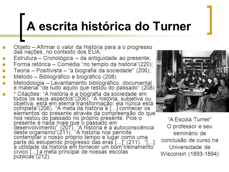 A escrita histórica do Turner