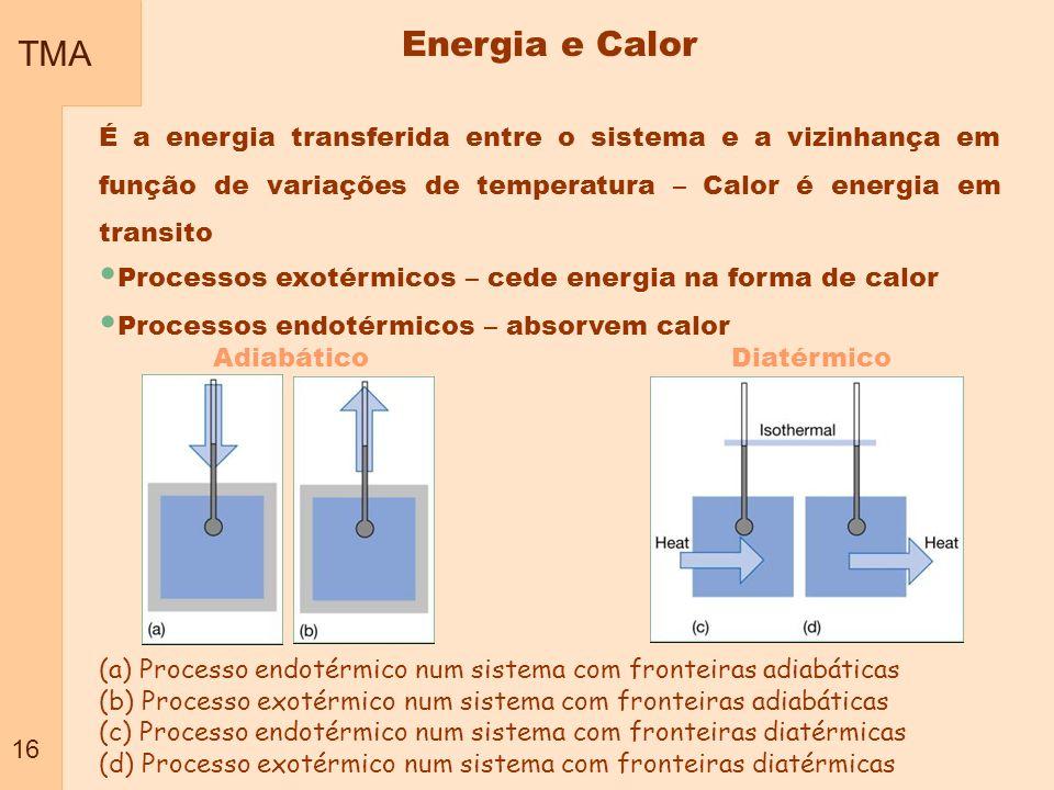 TMA 16. Energia e Calor. É a energia transferida entre o sistema e a vizinhança em função de variações de temperatura – Calor é energia em transito.