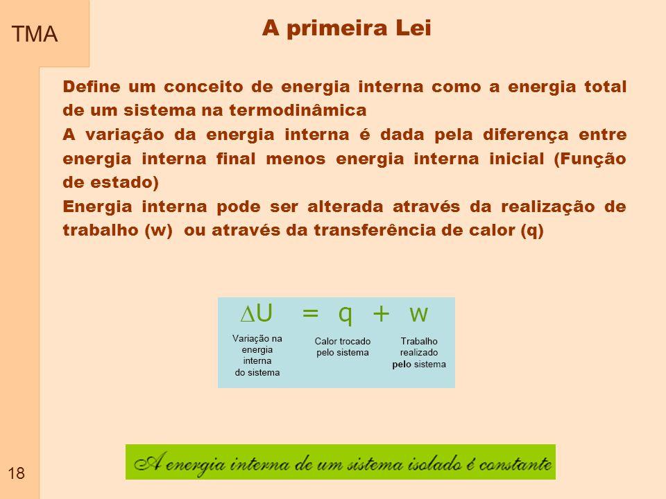 TMA 18. A primeira Lei. Define um conceito de energia interna como a energia total de um sistema na termodinâmica.