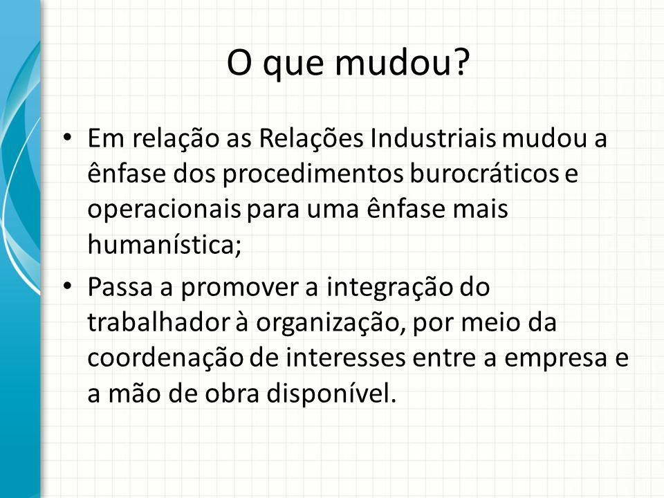 O que mudou Em relação as Relações Industriais mudou a ênfase dos procedimentos burocráticos e operacionais para uma ênfase mais humanística;