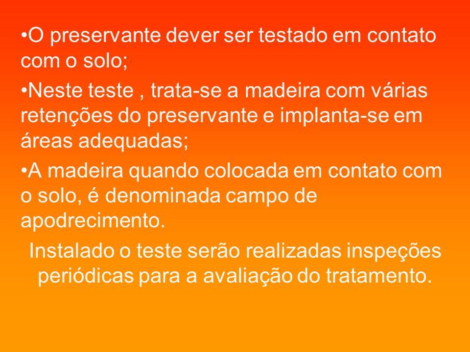 O preservante dever ser testado em contato com o solo;