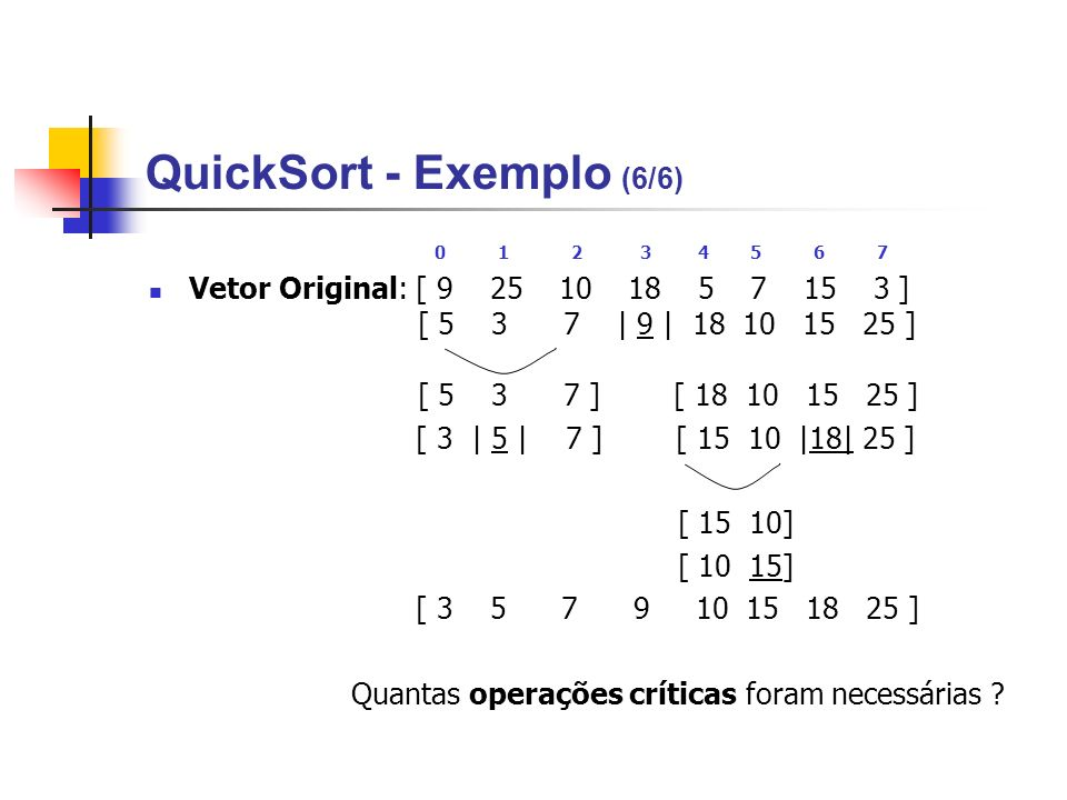QuickSort - Exemplo (6/6)