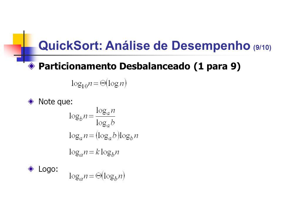 QuickSort: Análise de Desempenho (9/10)