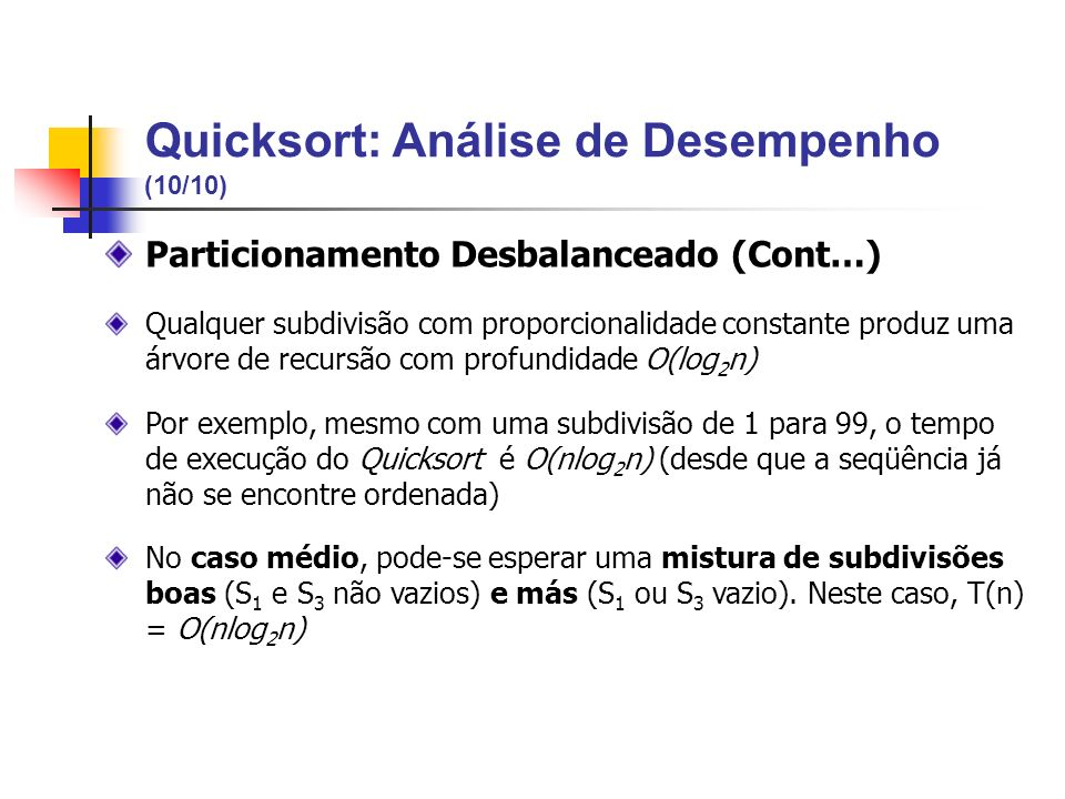 Quicksort: Análise de Desempenho (10/10)