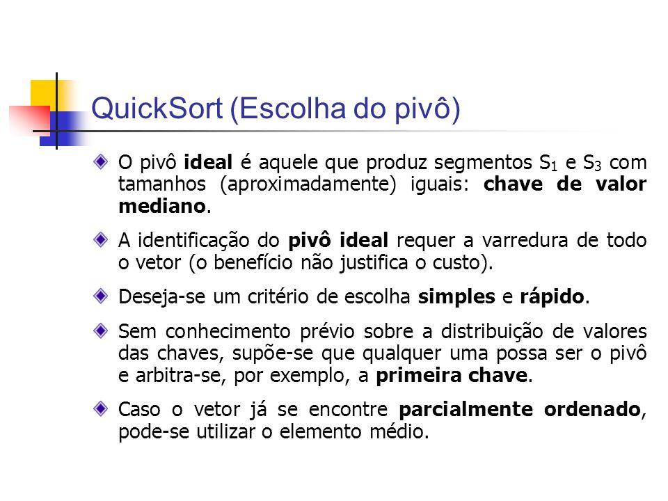QuickSort (Escolha do pivô)