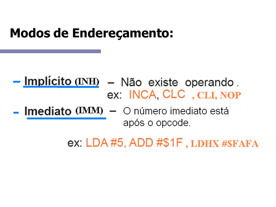 Modos de Endereçamento: