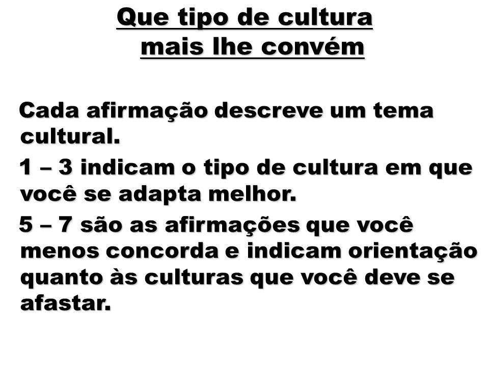 Que tipo de cultura mais lhe convém