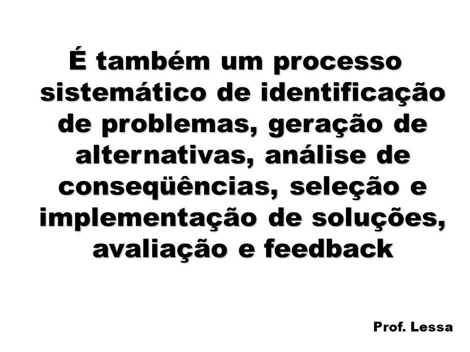 É também um processo sistemático de identificação de problemas, geração de alternativas, análise de conseqüências, seleção e implementação de soluções, avaliação e feedback