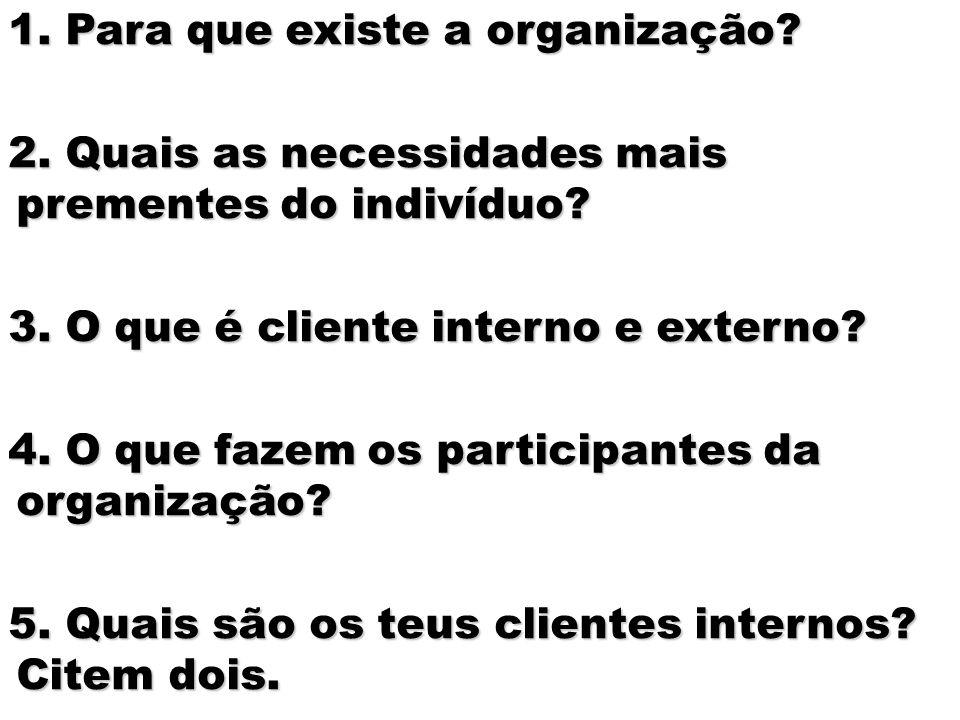 1. Para que existe a organização