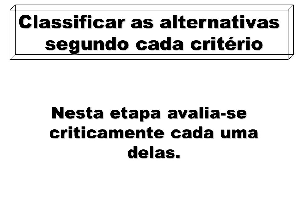 Classificar as alternativas segundo cada critério
