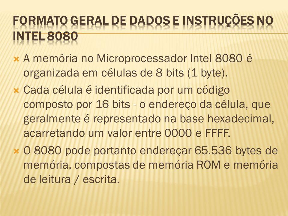 FORMATO GERAL DE DADOS E INSTRUÇÕES NO INTEL 8080