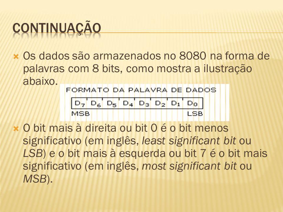 continuação Os dados são armazenados no 8080 na forma de palavras com 8 bits, como mostra a ilustração abaixo.