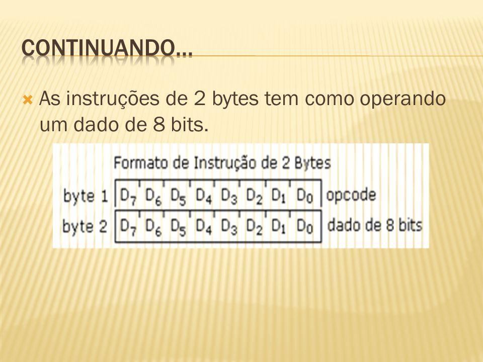 Continuando... As instruções de 2 bytes tem como operando um dado de 8 bits.
