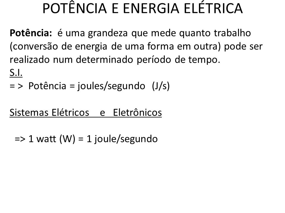 POTÊNCIA E ENERGIA ELÉTRICA