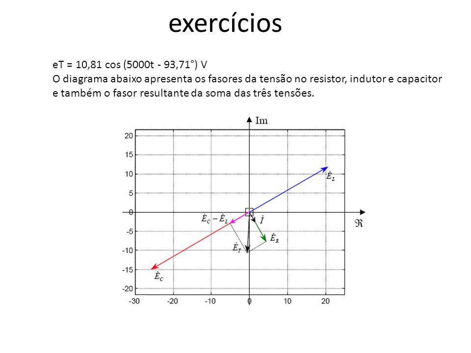 exercícios eT = 10,81 cos (5000t - 93,71°) V