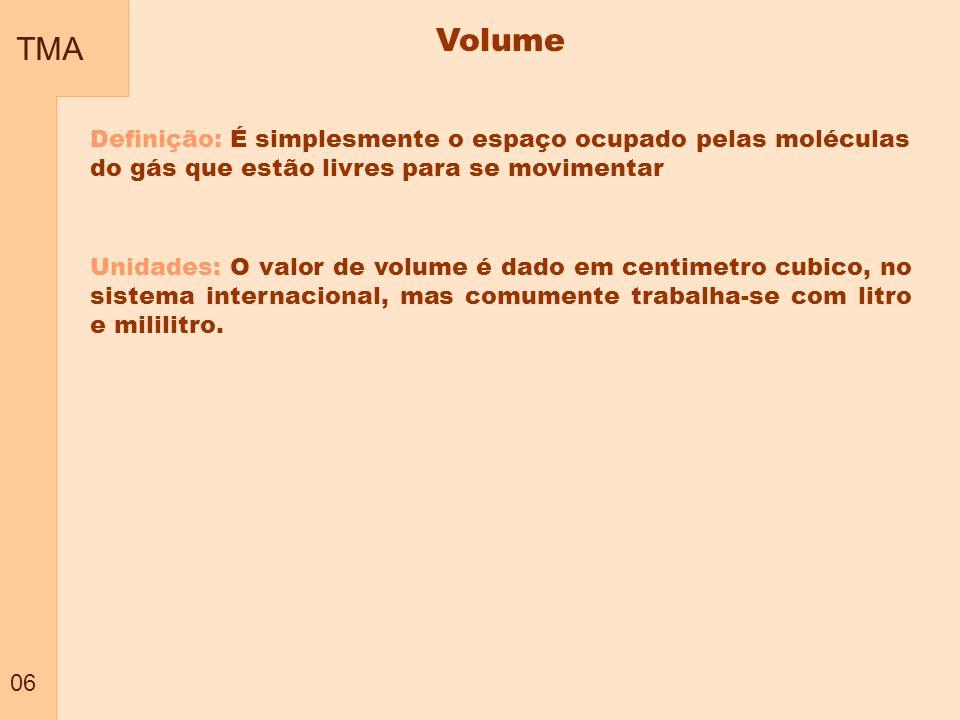 TMA 06. Volume. Definição: É simplesmente o espaço ocupado pelas moléculas do gás que estão livres para se movimentar.