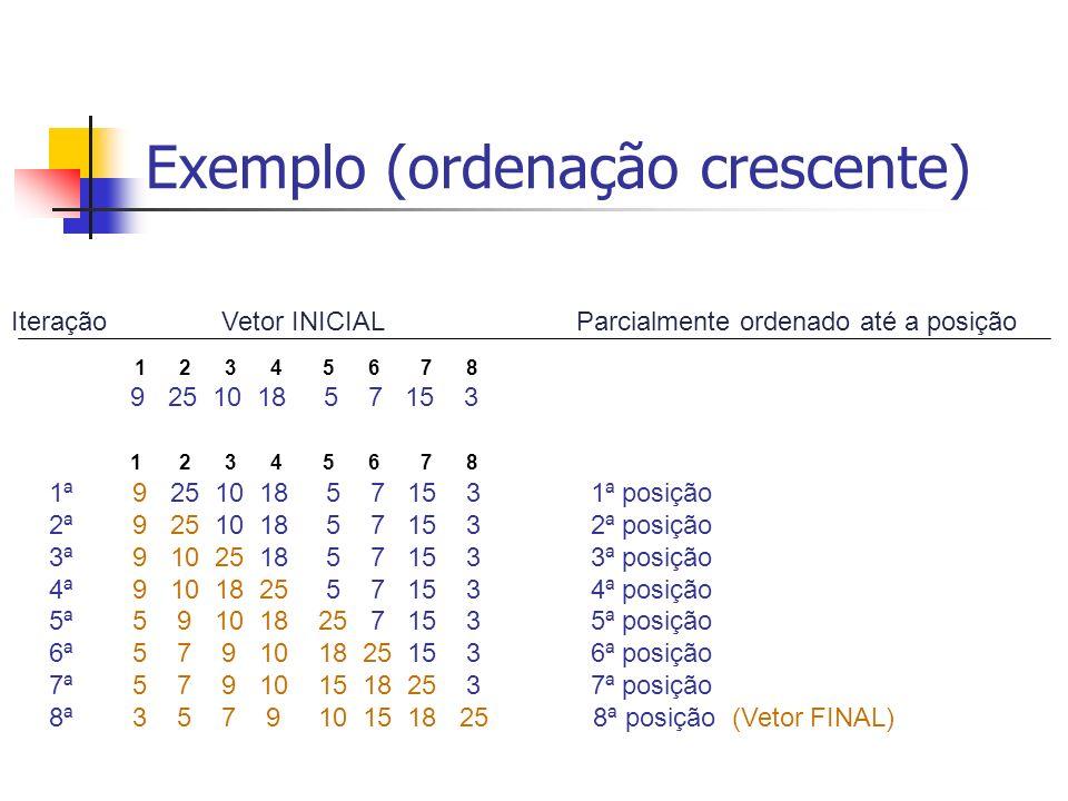 Exemplo (ordenação crescente)