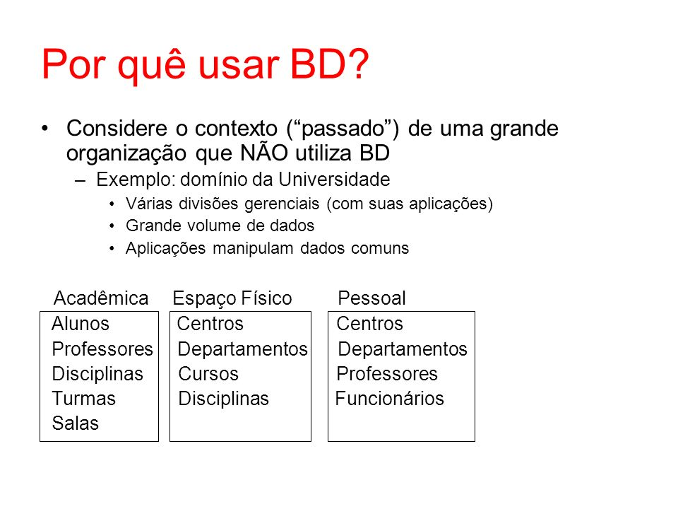 Por quê usar BD Considere o contexto ( passado ) de uma grande organização que NÃO utiliza BD. Exemplo: domínio da Universidade.