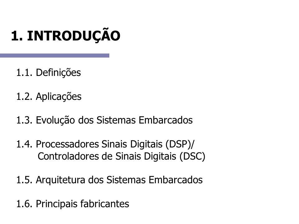 1. INTRODUÇÃO 1.1. Definições 1.2. Aplicações 1.3. Evolução dos Sistemas Embarcados 1.4. Processadores Sinais Digitais (DSP)/