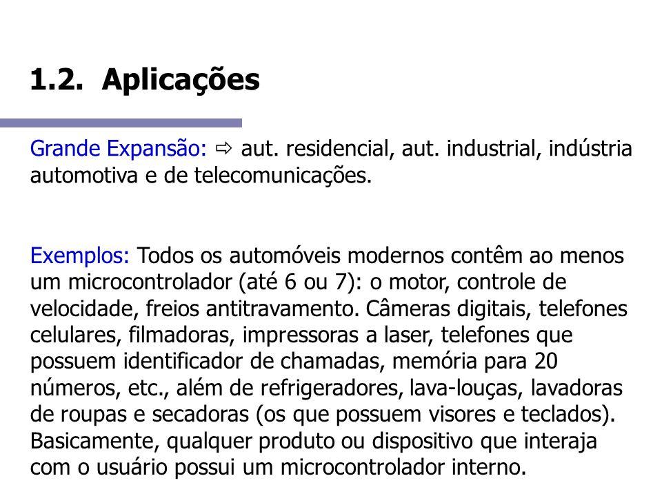 1.2. Aplicações Grande Expansão:  aut. residencial, aut. industrial, indústria automotiva e de telecomunicações.
