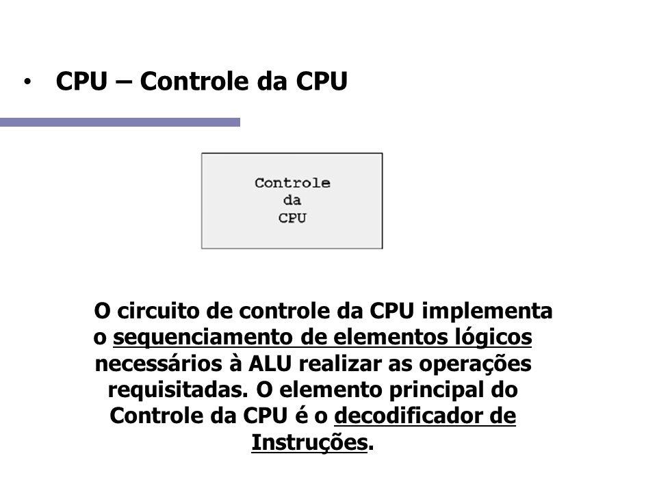 CPU – Controle da CPU